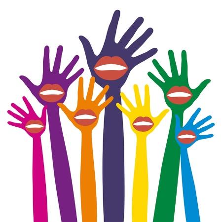 Lip hands party design.  Illustration