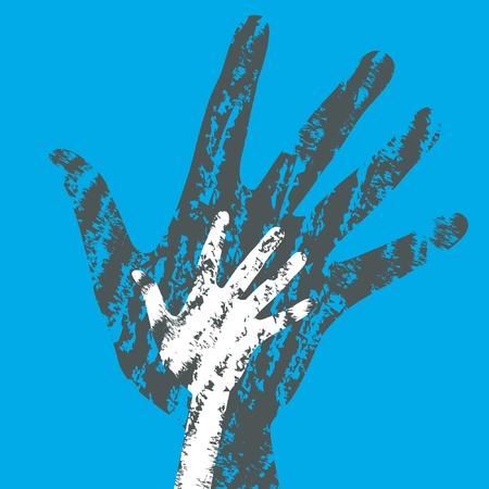 Textured overlapping hands design.