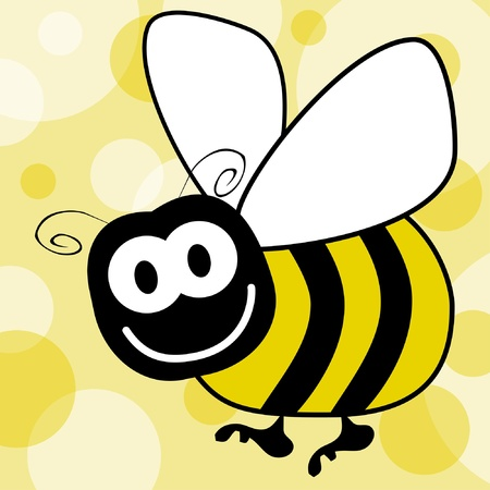 Fun bumble bee vector with a patterned background.  Vector