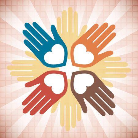 Colorful united loving hands design.  Vector