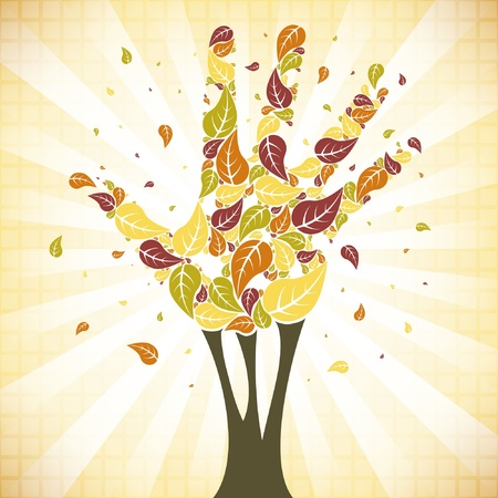 5 people: Leaves falling from a hand shaped tree vector.