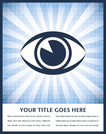 see  visionary: Striking eye sunburst design with copy space vector.