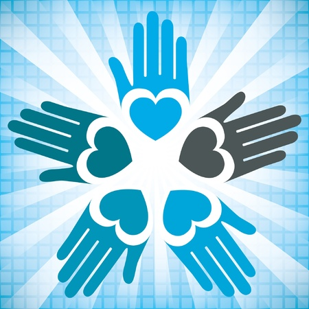 Colorful united loving hands vector design.  Vector