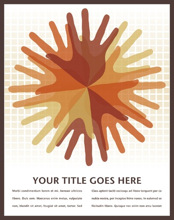 overlapping: Circle of overlapping hands with copy space vector.  Illustration