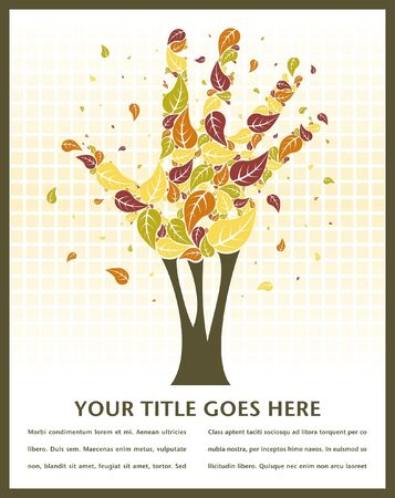 Leaves falling from a hand shaped tree with space for text. Vector