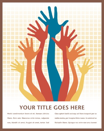 Large group of playful hands vector design with copy space.  Vector