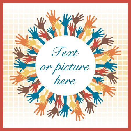 multiple image: Happy colorful hands celebration frame vector design.