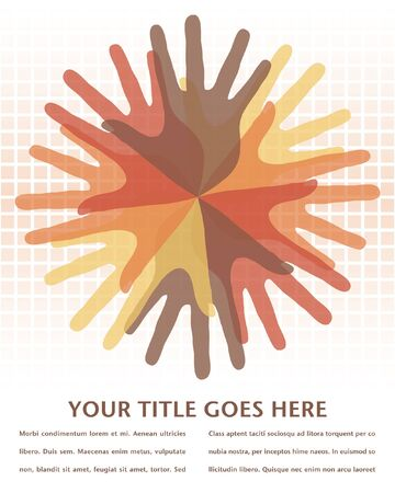 Circle of overlapping hands with copy space Stock Vector - 10225253