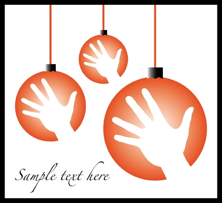 Christmas celebration hand baubles design with text space. Vector