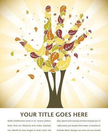 hojas parra: Hojas cayendo de una mano en forma de árbol con espacio para el texto.  Vectores