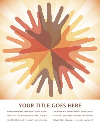 Circle of overlapping hands design with copy space.  Vector