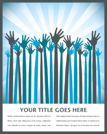 Large group of long armed happy hands with space for text vector.. Vector