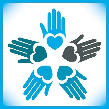 personas ayudando: C�rculo de amantes de manos