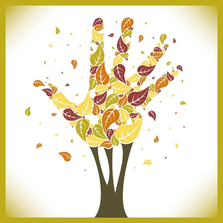 Leaves falling from a hand shaped tree  Vector