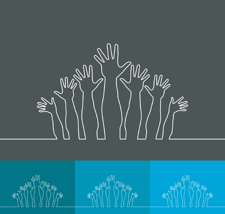 Simple line illustration of realistic happy hands  Vector
