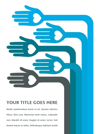 Hand design with text space vector.  Vector