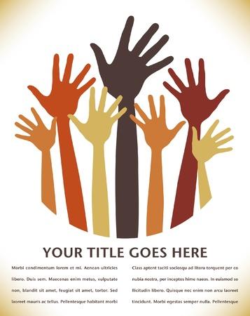 volunteering: Happy hands vector design with copy space.  Illustration