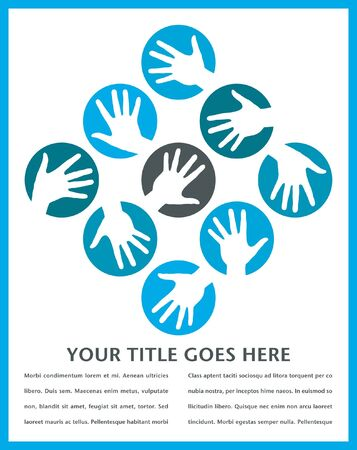helping hand: Hand circles vector design with copy space.  Illustration