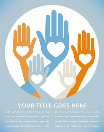 Helpful united hands design with text space.  Vector