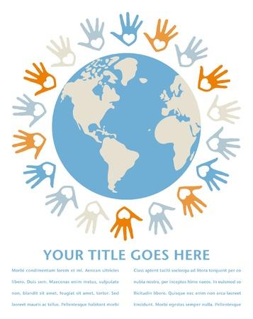 paz mundial: Unidad y la paz en el mundo colorido diseño con espacio de texto.