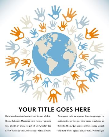 paz mundial: Diseño colorido mundo de paz y unidad.