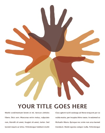 Circle of loving hands with copy space.  Illustration
