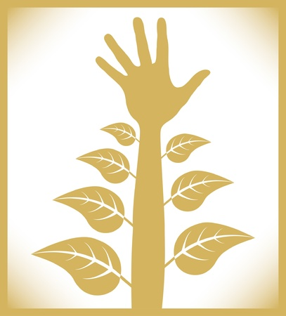 personal growth: Personal growth and development hand.  Illustration