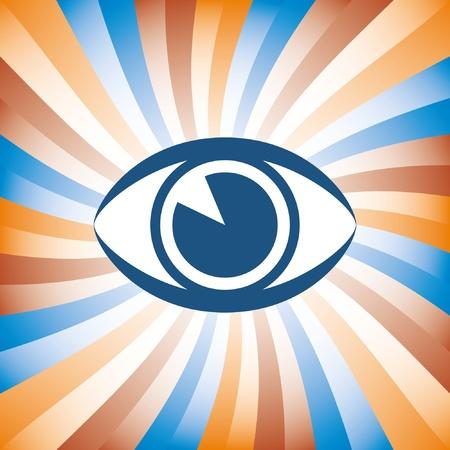 visionary: Colorful eye sunburst design.