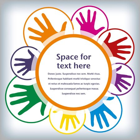 a helping hand: Hand circles design with copy space.