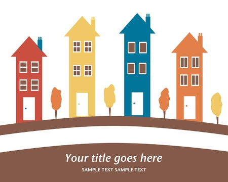 Colorful row of tall houses vector illustration.  Stock Vector - 10360925