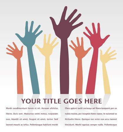 volunteering: Happy loving hands vector design with copy space.