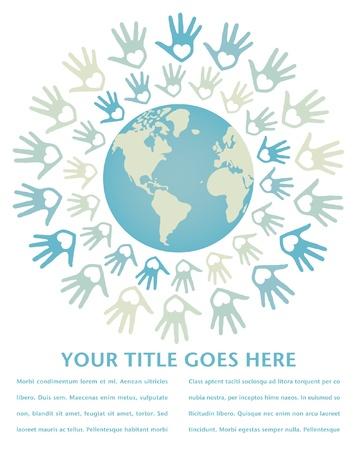 paz mundial: Unidad y la paz en el mundo colorido vector de dise�o.