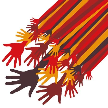 manos: Gran grupo de dise�o feliz vector manos.