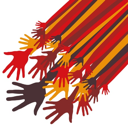 Large group of happy hands vector design.