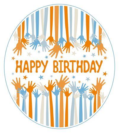 jubilation: Happy birthday hands vector design.  Illustration
