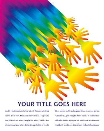 Rainbow hands vector design with copy space.