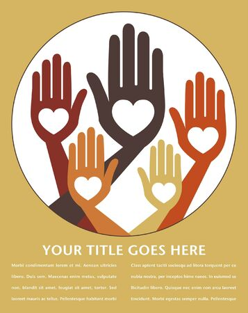 Helpful united hands vector design with copy space.  Vector