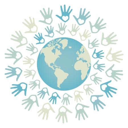 paix monde: Paix dans le monde color� et conception de vecteur de l'unit�. Illustration