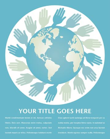 World hands vector design with copy space.  Vector