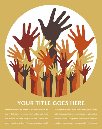 Large group of happy hands vector design with text space.  Vector