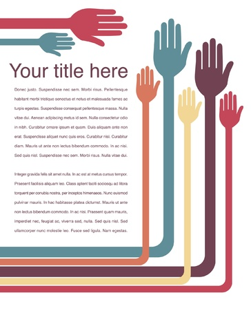 Hand design with text space vector.  Illustration
