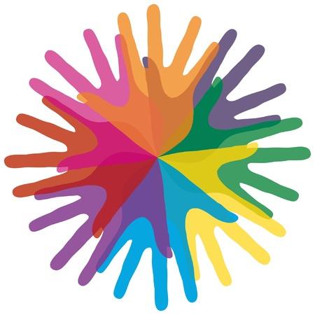 Circle of loving hands vector design.  Illustration