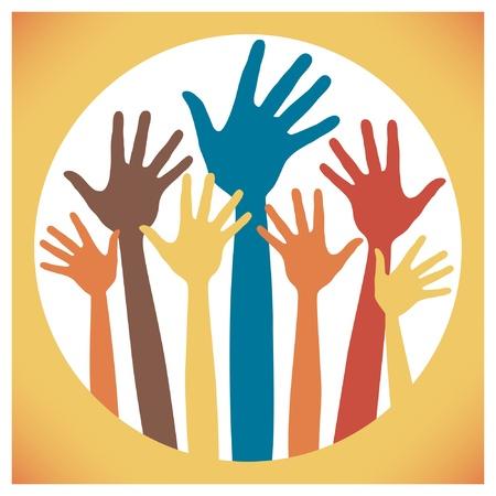 volunteering: Happy hands vector design.