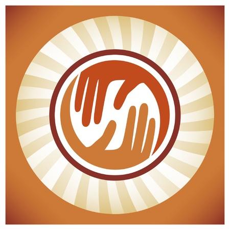caring hands: Natuurlijke zorgzame handen vector design.