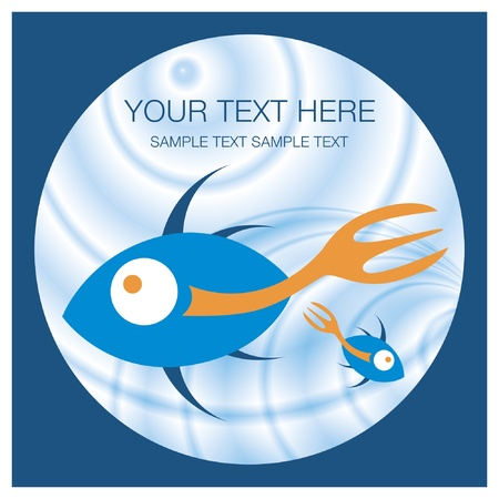 Stylized fork tailed fish vector design.  Vector