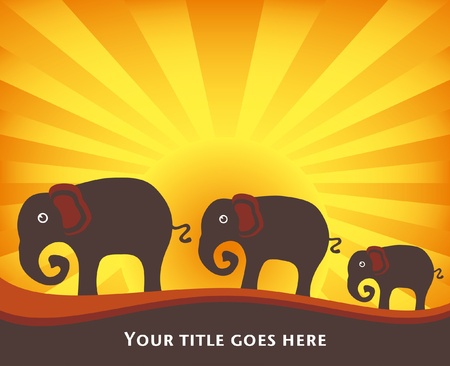 Elephant family at sunrise or sunset vector design.  Vector