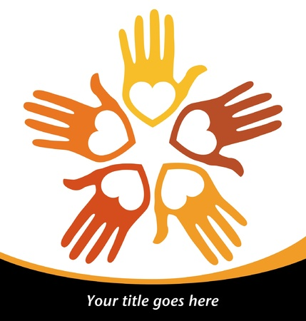 loving hands: Circle of loving hands design with copy space vector.