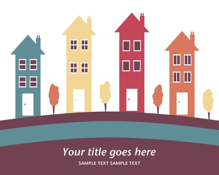 row houses: Colorful row of tall houses vector illustration.  Illustration