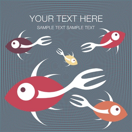 Fork tailed fish design with text space Vector