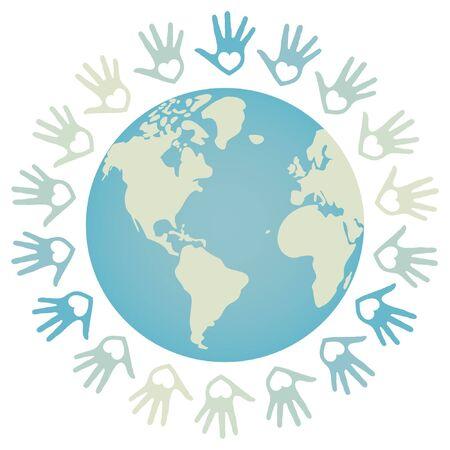 paix monde: Paix dans le monde color� et design unit�.
